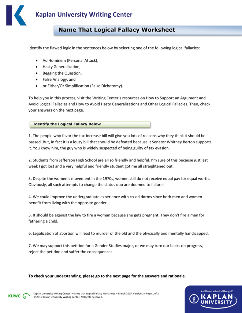 Worksheets Logical Fallacies Worksheet name that logical fallacy worksheet