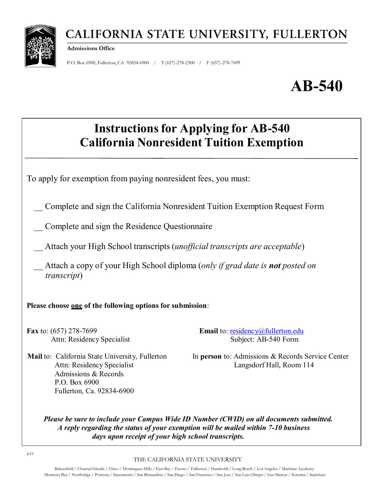 AB-540 - California State University, Fullerton