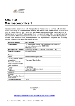 Macroeconomics 1 - ANU College of Business and Economics