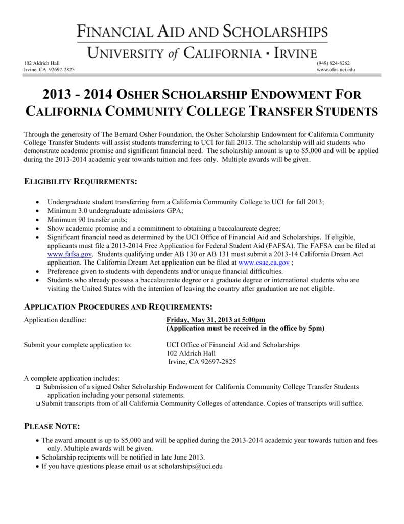 2013 - 2014 osher scholarship endowment for california community