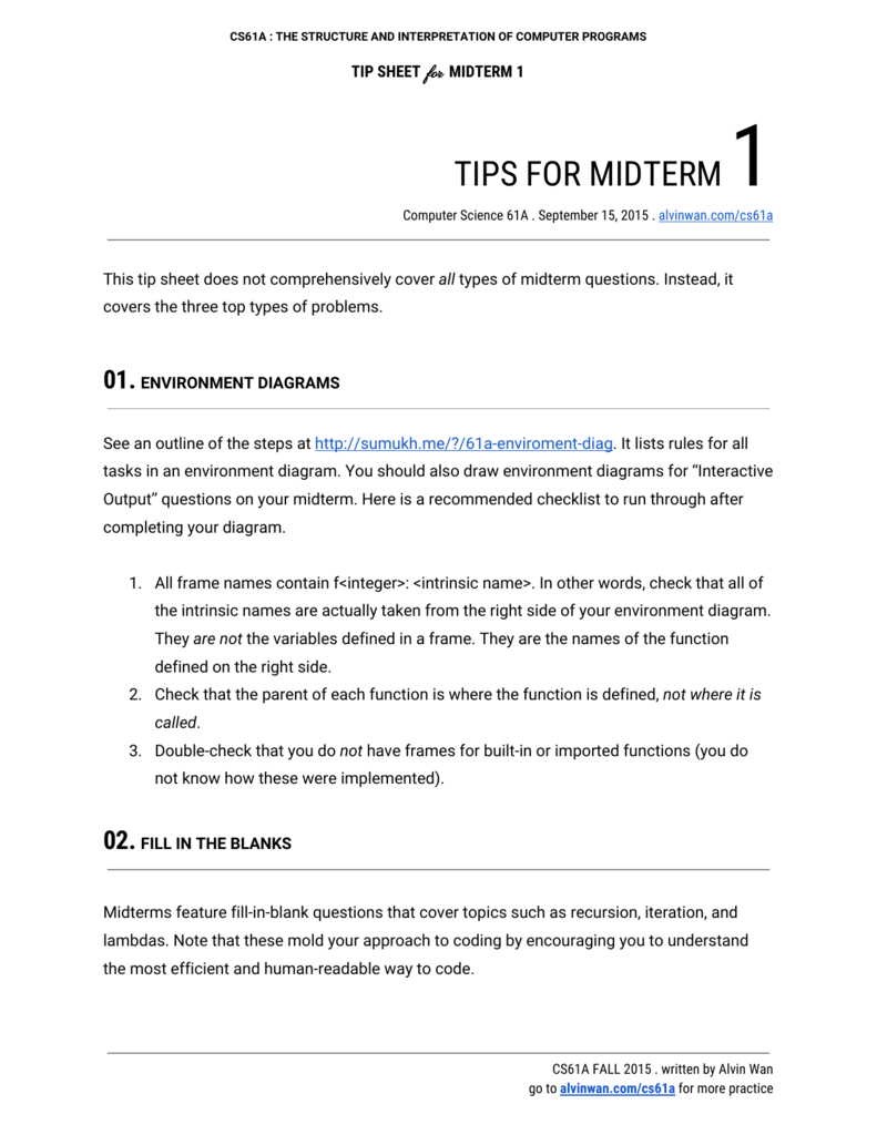 tips for midterm 1