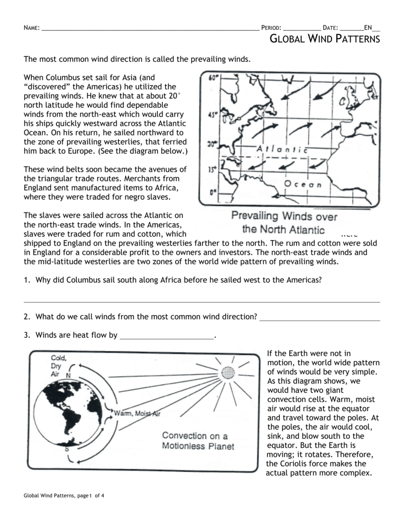 HW: Global Wind Patterns Throughout Global Wind Patterns Worksheet