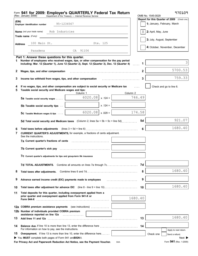 941 form due  9 Federal Form - RABco Payroll Service