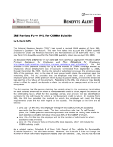 IRS Revises Form 941 for COBRA Subsidy
