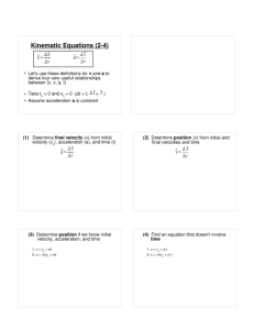Kinematic Equations (2-4)