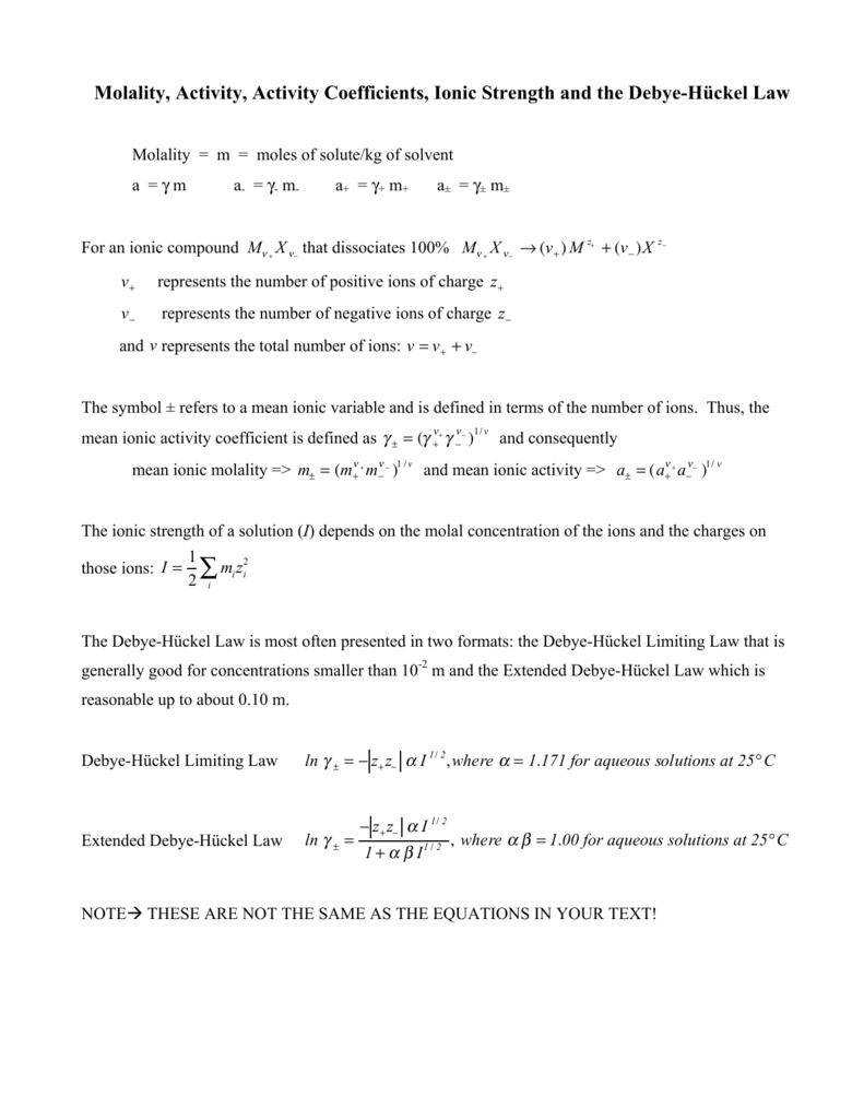 Molality Activity Activity Coefficients Ionic Strength And The Debye