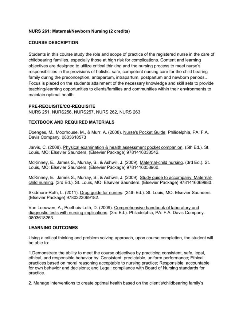 c657e7b1a12a7 NURS 261: Maternal/Newborn Nursing (2 credits) COURSE