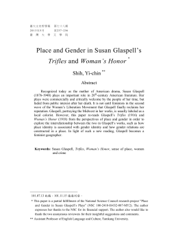 play trifles significance of gender The following one-act play is reprinted from triflessusan glaspell new york: frank shay, 1916 it is now in the public domain and may.