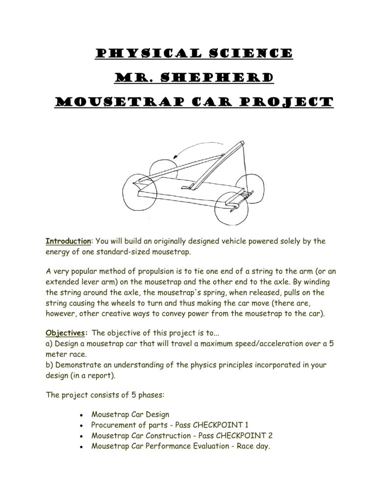 Physical Science Mr Shepherd Mousetrap Car Project