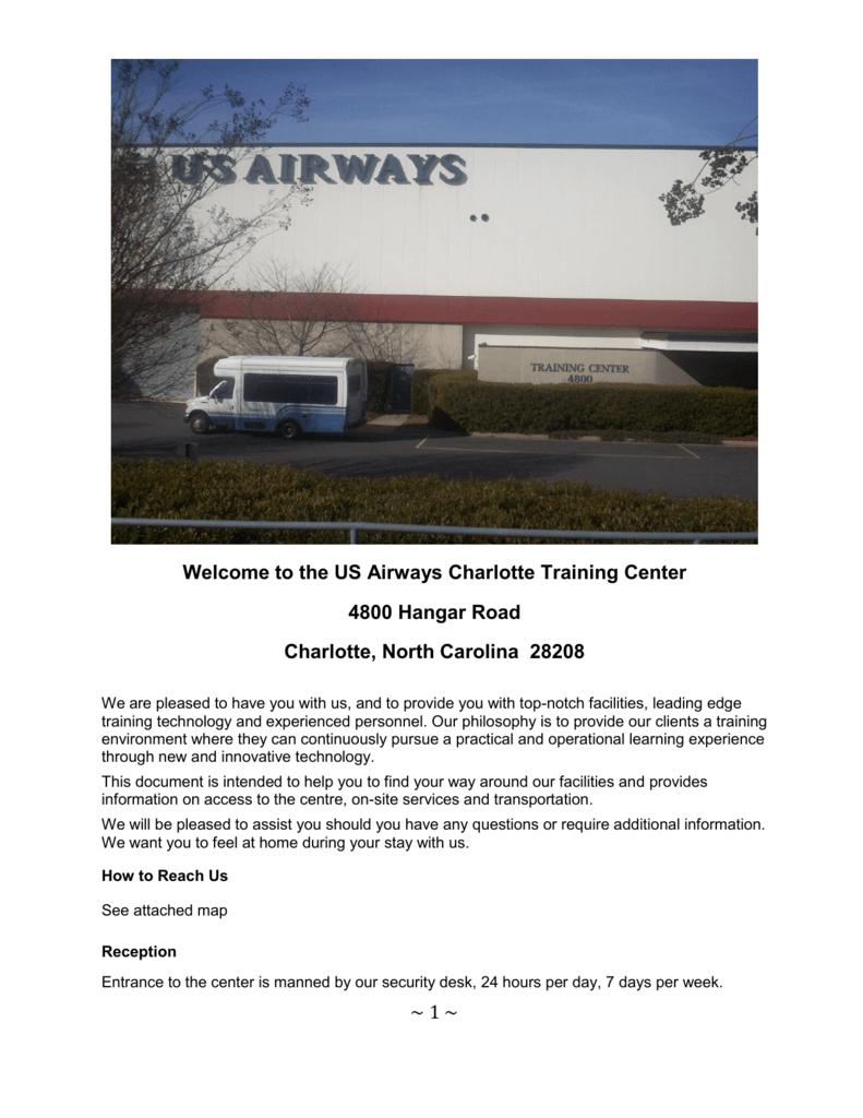 The Us Airways Charlotte Training Center - Us-airways-center-map