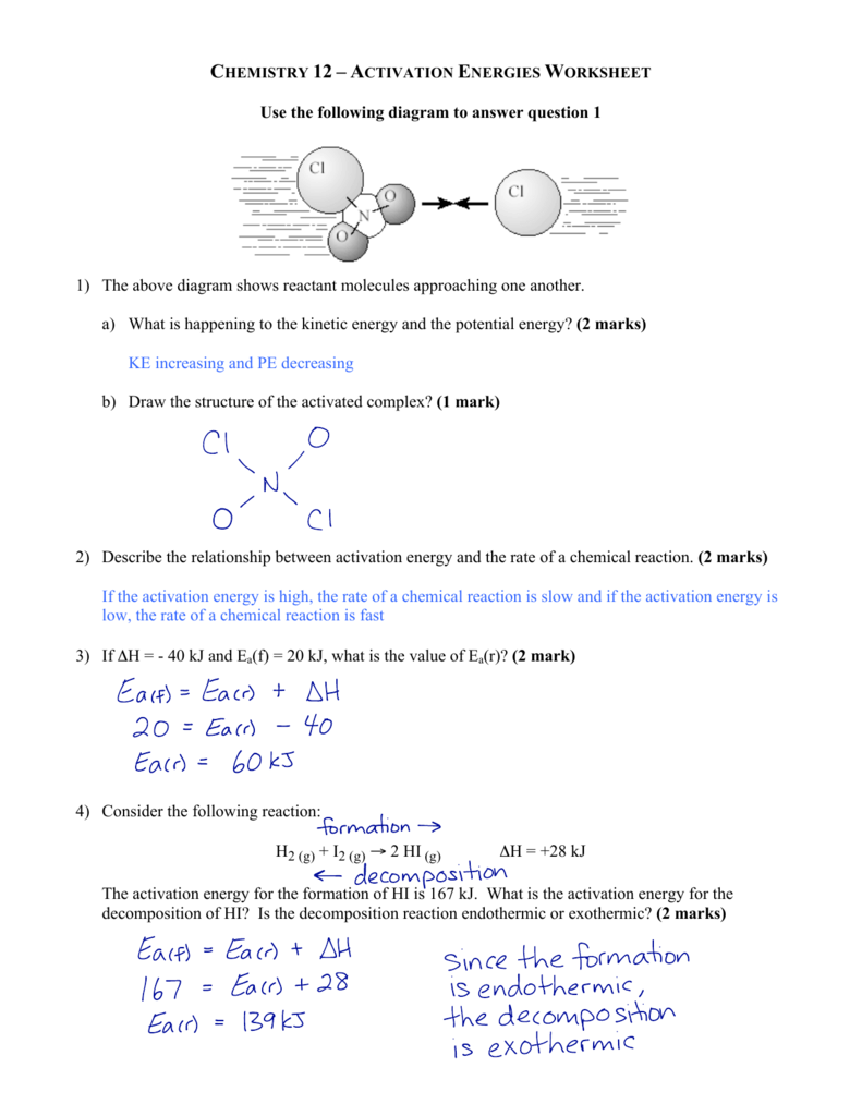 Activation Energies Worksheet Solutions
