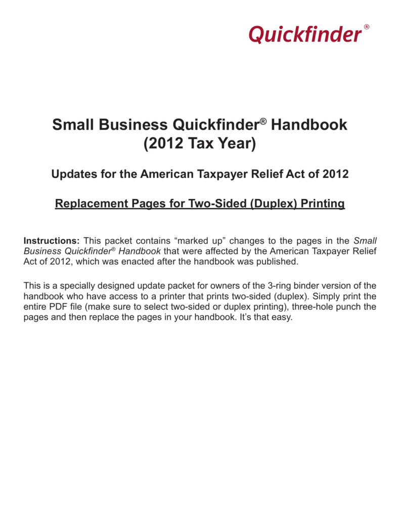 Quickfinder® Small Business Quickfinder® Handbook