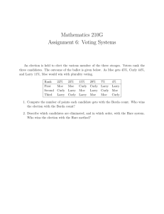 Mathematics 210G Assignment 6: Voting Systems