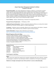 Airport Operations Management Technical Certificate Program Code
