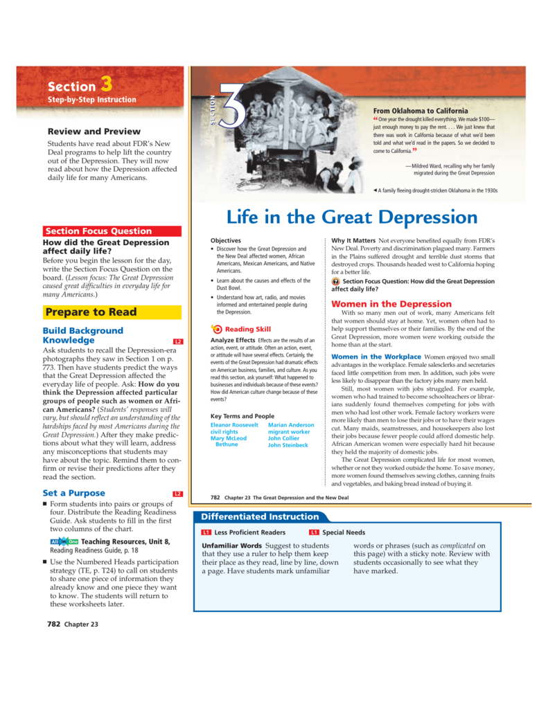 Great Depression Worksheets Ch 23 Sec 3 In The Great Depression Textbook