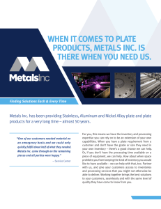WHEN IT COMES TO PLATE PRODUCTS, METALS INC. IS THERE