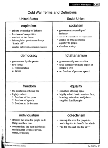 Cold War Terms and Definitions capitalism socialism democracy