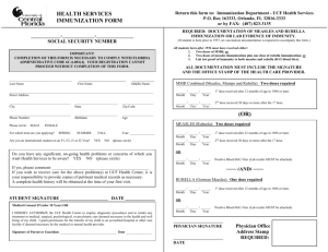 HEALTH SERVICES IMMUNIZATION FORM (OR)