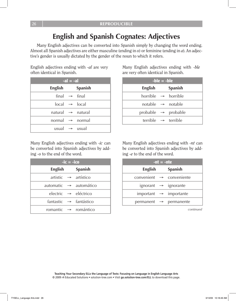 English And Spanish Cognates Adjectives