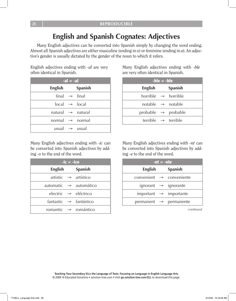 worksheet Spanish Cognates Worksheet english and spanish cognates adjectives