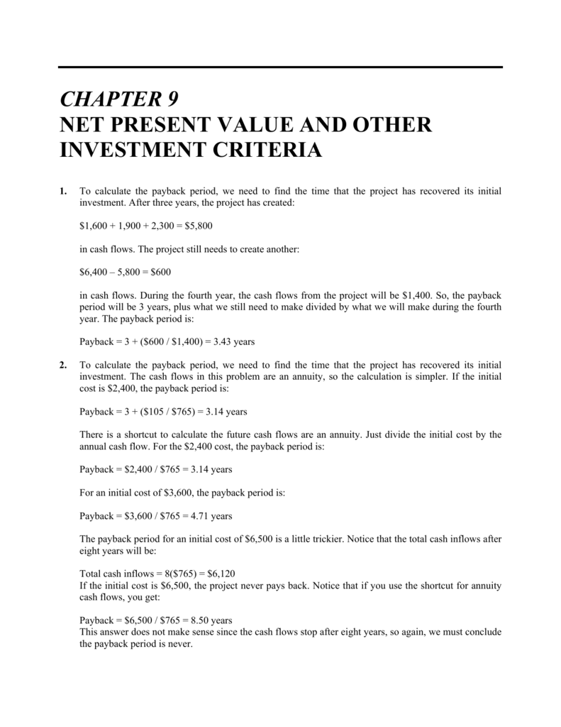 chapter 7 net present value and
