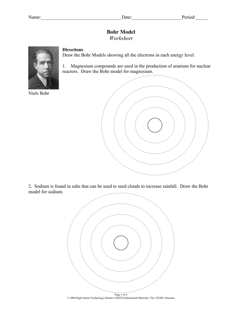 Bohr Model Worksheet