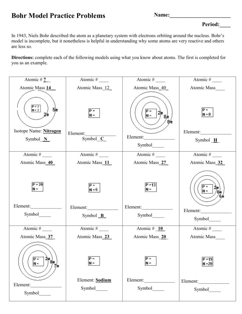 Bohr Model Practice Problems