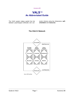 VALS - An Abbreviated Guide