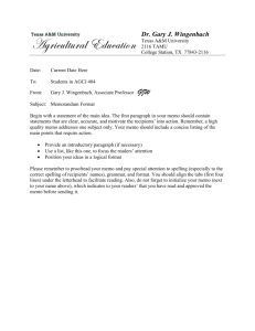 Memorandum Format - Texas A&M University