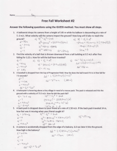 Free Fall Worksheet #2