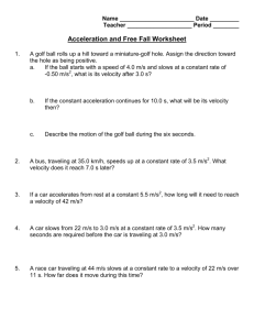 Acceleration and Free Fall Worksheet