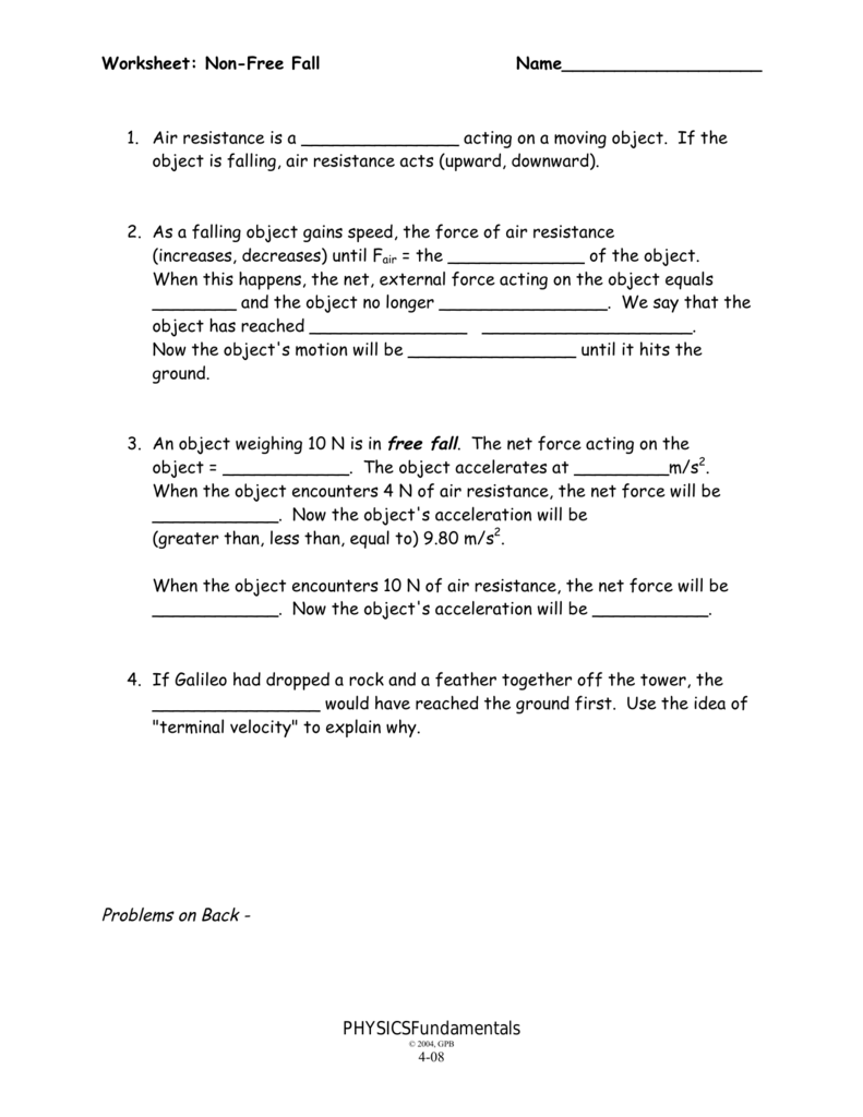 NonFree Fall Worksheet – Net Force Worksheet