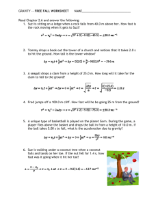 FREE FALL WORKSHEET