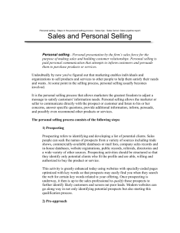 Sales and Personal Selling - Scitron Training & Consulting
