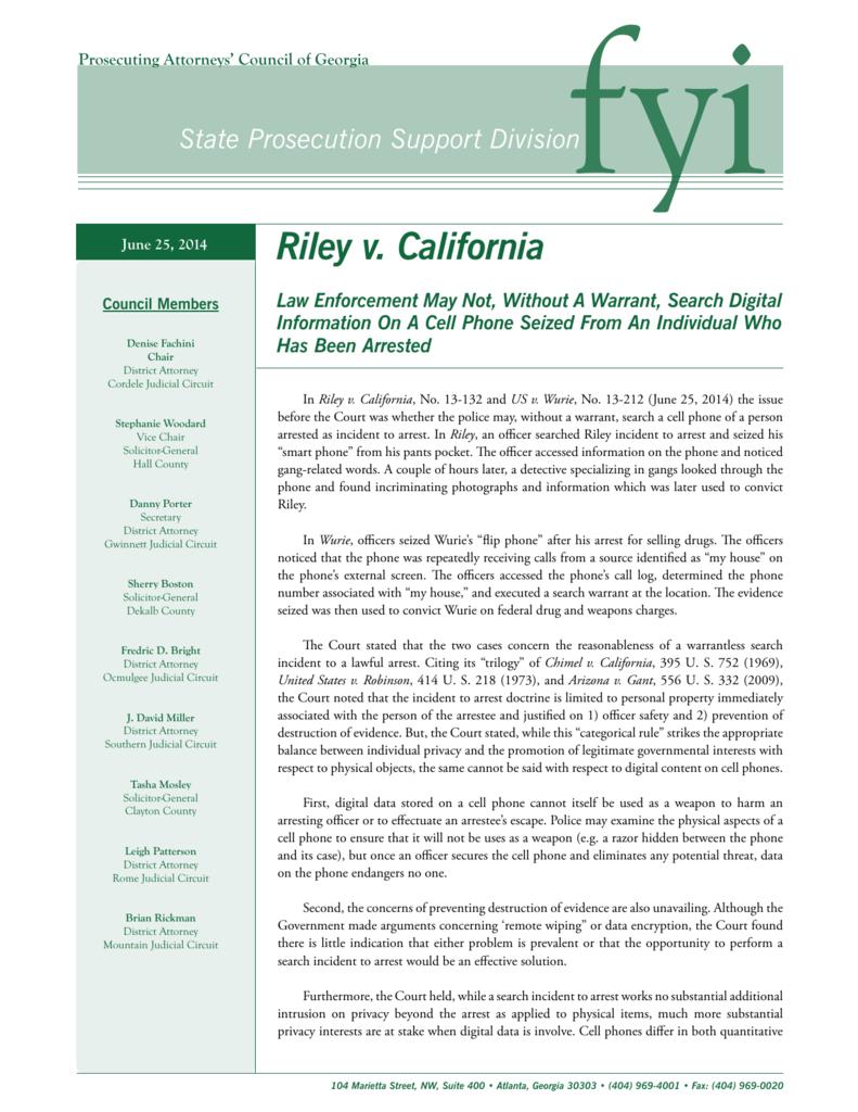 Riley v  California - Prosecuting Attorneys' Council of Georgia