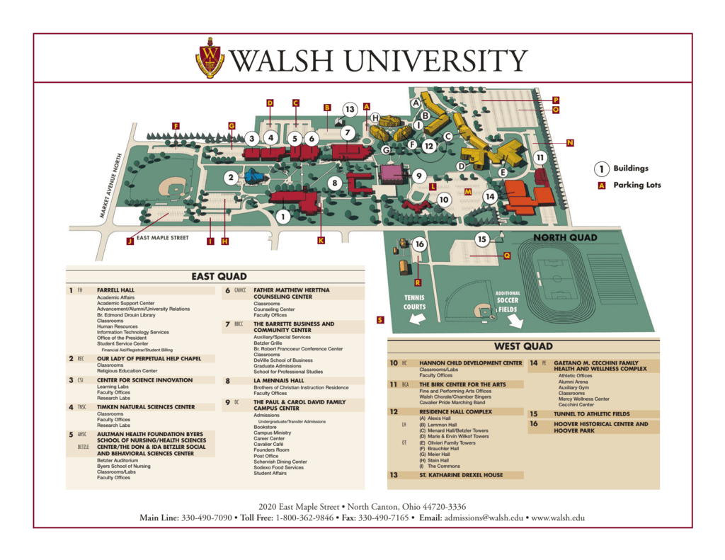Walsh Campus Map.Walsh University Campus Map