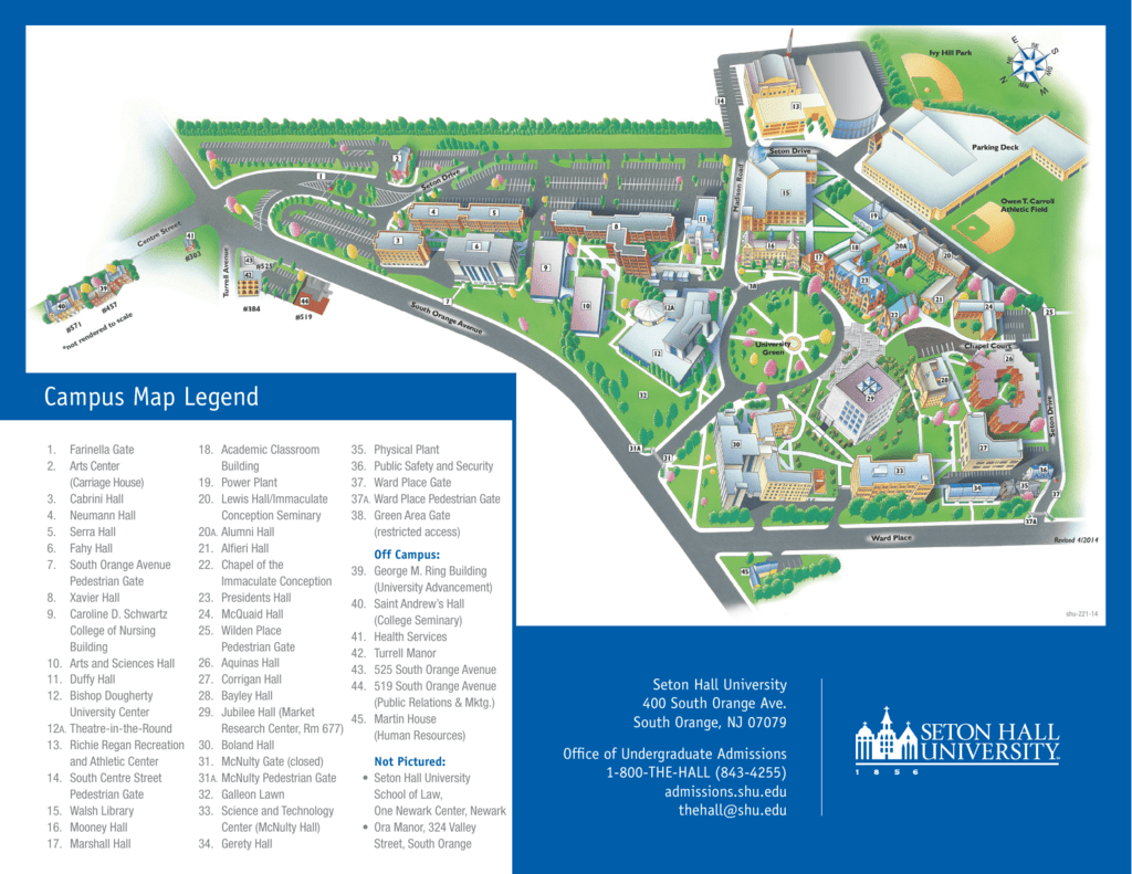 Franciscan University Campus Map.Campus Map Legend Seton Hall University