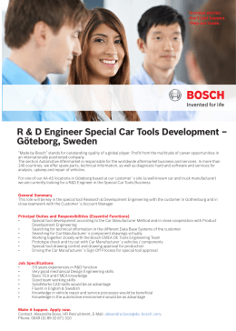 R & D Engineer Special Car Tools Development – Göteborg, Sweden