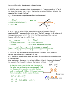 Lenz and Faraday Worksheet: Quantitative