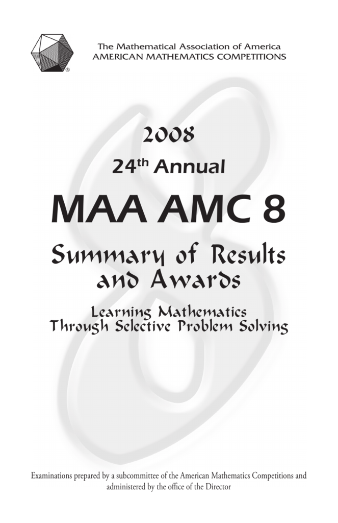 MAA AMC 8 - Mathematical Association of America