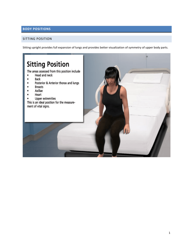 BODY POSITIONS SITTING POSITION