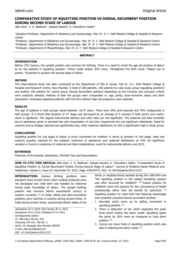 COMPARATIVE STUDY OF SQUATTING POSITION VS DORSAL