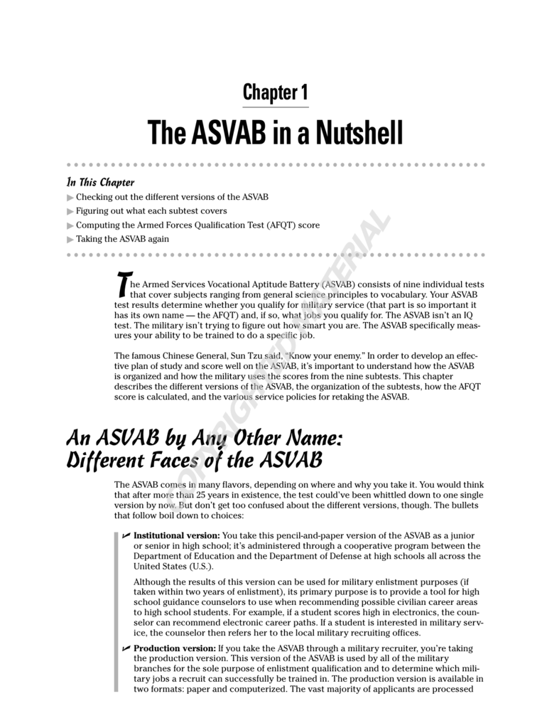 The ASVAB in a Nutshell