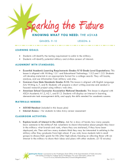 Sparking the Future Grades 9-10 Lesson 6 The ASVAB and March 2