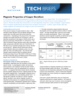 Magnetic Properties of Copper Beryllium