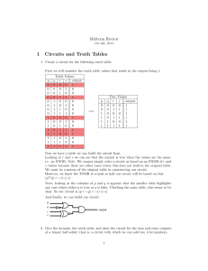 1 Circuits and Truth Tables