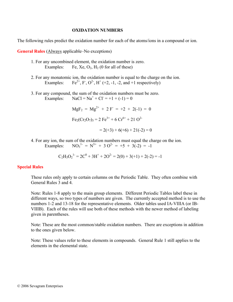 OXIDATION NUMBERS The following rules predict the oxidation