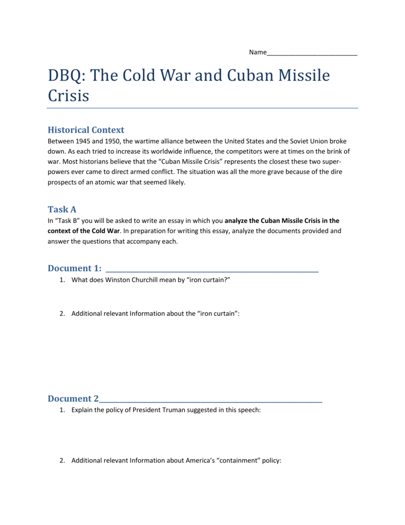 dbq the cold war and n missile crisis