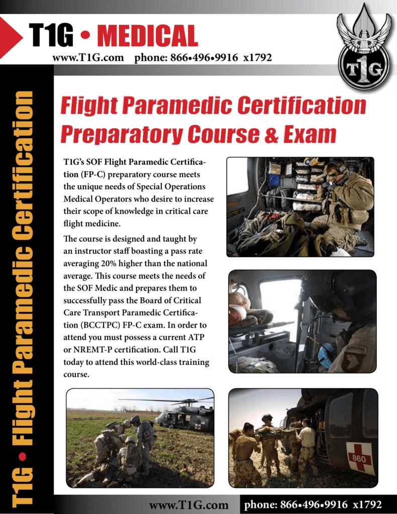 Flight Paramedic Certification Preparatory Course Exam