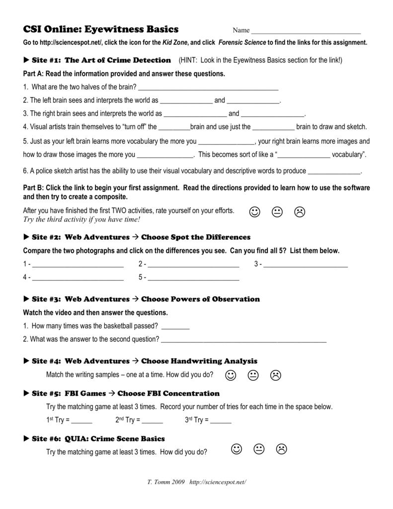 CSI line Eyewitness Basics